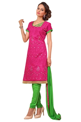 Pink embroidered faux chanderi unstitched salwar with dupatta