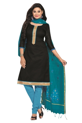 Black embroidered faux jacquard unstitched salwar with dupatta