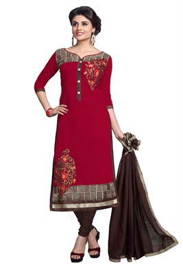 Red embroidered cotton poly unstitched salwar with dupatta