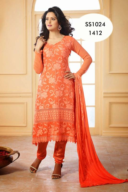 4b8bc619d9 Beautiful Orange Chiffon Karachi Work Churidar Suit - Khantil India - 213368