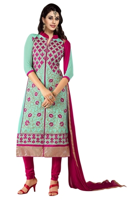 Blue embroidered faux georgette unstitched salwar with dupatta