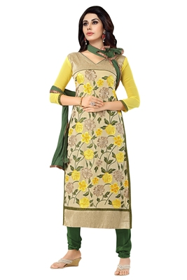 Yellow embroidered faux georgette unstitched salwar with dupatta