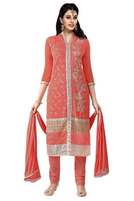 Red embroidered faux georgette unstitched salwar with dupatta