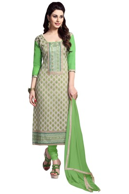 Grey embroidered cotton poly unstitched salwar with dupatta