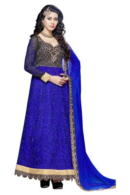 Blue embroidered faux net unstitched salwar with dupatta