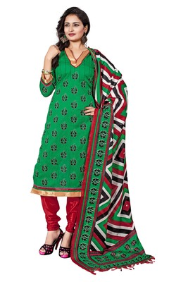 Green embroidered faux jacquard unstitched salwar with dupatta