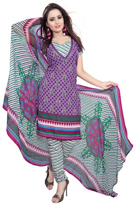 Purple embroidered faux crepe unstitched salwar with dupatta