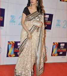 Buy Sridevi White Zal Net Fabric Sari sridevi-saree online