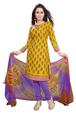 Yellow embroidered faux crepe unstitched salwar with dupatta
