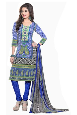 Blue embroidered faux crepe unstitched salwar with dupatta