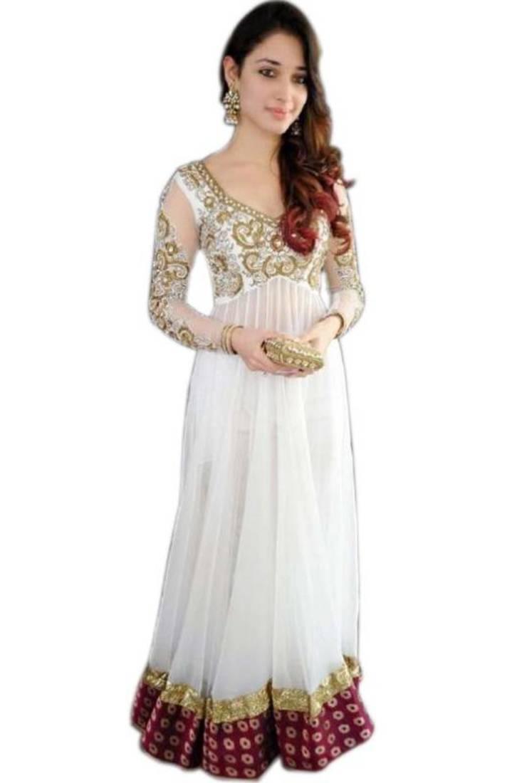 Buy Tamanna Bhatia White Floor Length Georgette Anarkali