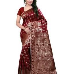 Buy Maroon woven banarasi silk saree with blouse banarasi-saree online