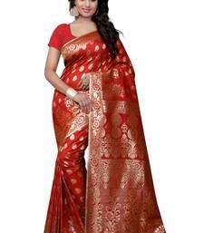 Buy Red woven banarasi silk saree with blouse banarasi-saree online