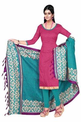 Pink embroidered art silk unstitched salwar with dupatta