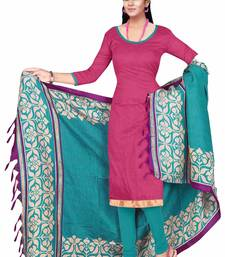 Buy Pink embroidered art silk unstitched salwar with dupatta ready-to-ship-salwar-kameez online