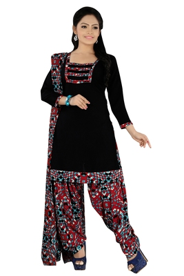 Black embroidered faux crepe unstitched salwar with dupatta