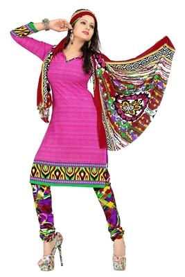 Pink embroidered faux crepe unstitched salwar with dupatta