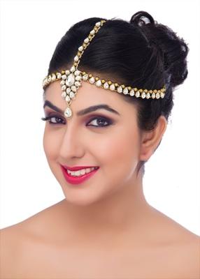 Stylish Hair Designer Matha Patti For Wedding Gold Finishing Stone In White