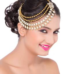 Buy Exclusively Designer Matha Patti For Party Wear Gold Finishing Kundan White Stone pakistani-jewellery online
