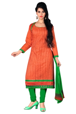 Orange embroidered cotton poly unstitched salwar with dupatta