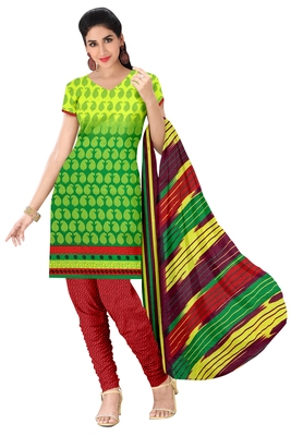 Green embroidered faux crepe unstitched salwar with dupatta