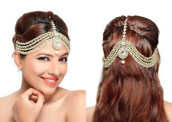 Exclusively Designer Matha Patti For Party Wear Gold Finishing With Pearl And Stone In White