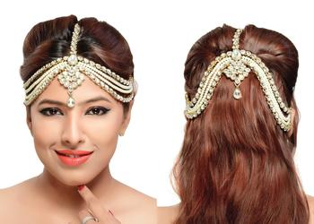 Stylish Hair Designer Matha Patti For Wedding Gold Finishing With Pearl And Stone In White