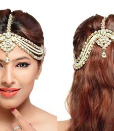 Buy Stylish Hair Designer Matha Patti For Wedding Gold Finishing with Pearl and Stone in White maang-tikka online