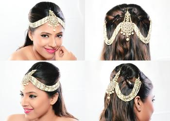 Stylish Hair Exclusive Matha Patti For Wedding Gold Finishing With Pearl And Stone In White