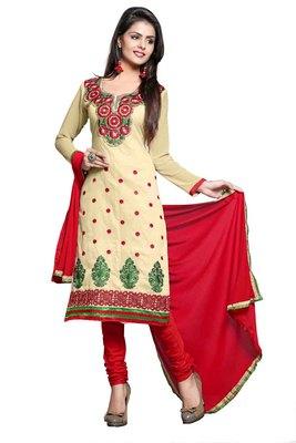 Beige embroidered faux chanderi unstitched salwar with dupatta