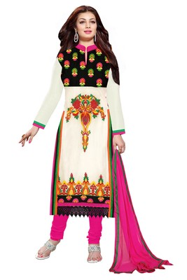 White embroidered faux georgette unstitched salwar with dupatta
