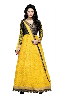Yellow embroidered faux net unstitched salwar with dupatta