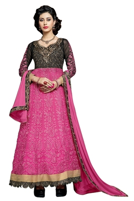 Pink embroidered faux net unstitched salwar with dupatta
