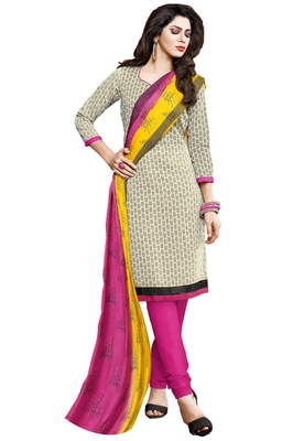 Cream embroidered cotton poly unstitched salwar with dupatta