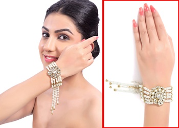 Fancy Kundan Austrian Stone And Pearl Designer Gold Finishing Bracelet