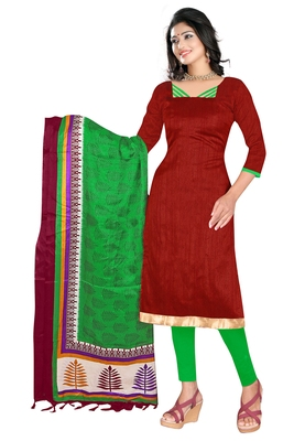 Maroon embroidered art silk unstitched salwar with dupatta