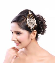 Buy Trendy Austrian Kundan Stone Work Designer Gold Finishing Pasa maang-tikka online