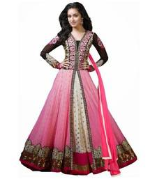 Buy pink embroidery net semi stitched salwar with dupatta semi-stitched-salwar-suit online