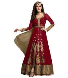 Buy Red embroidery georgette semi stitched salwar with dupatta semi-stitched-salwar-suit online