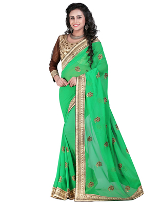 9a1b4765a7 Green embroidered georgette saree with blouse - TODAY ENTERPRISE - 1653616
