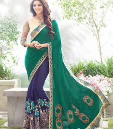 Buy Green embroidered faux-georgette saree with blouse heavy-work-saree online
