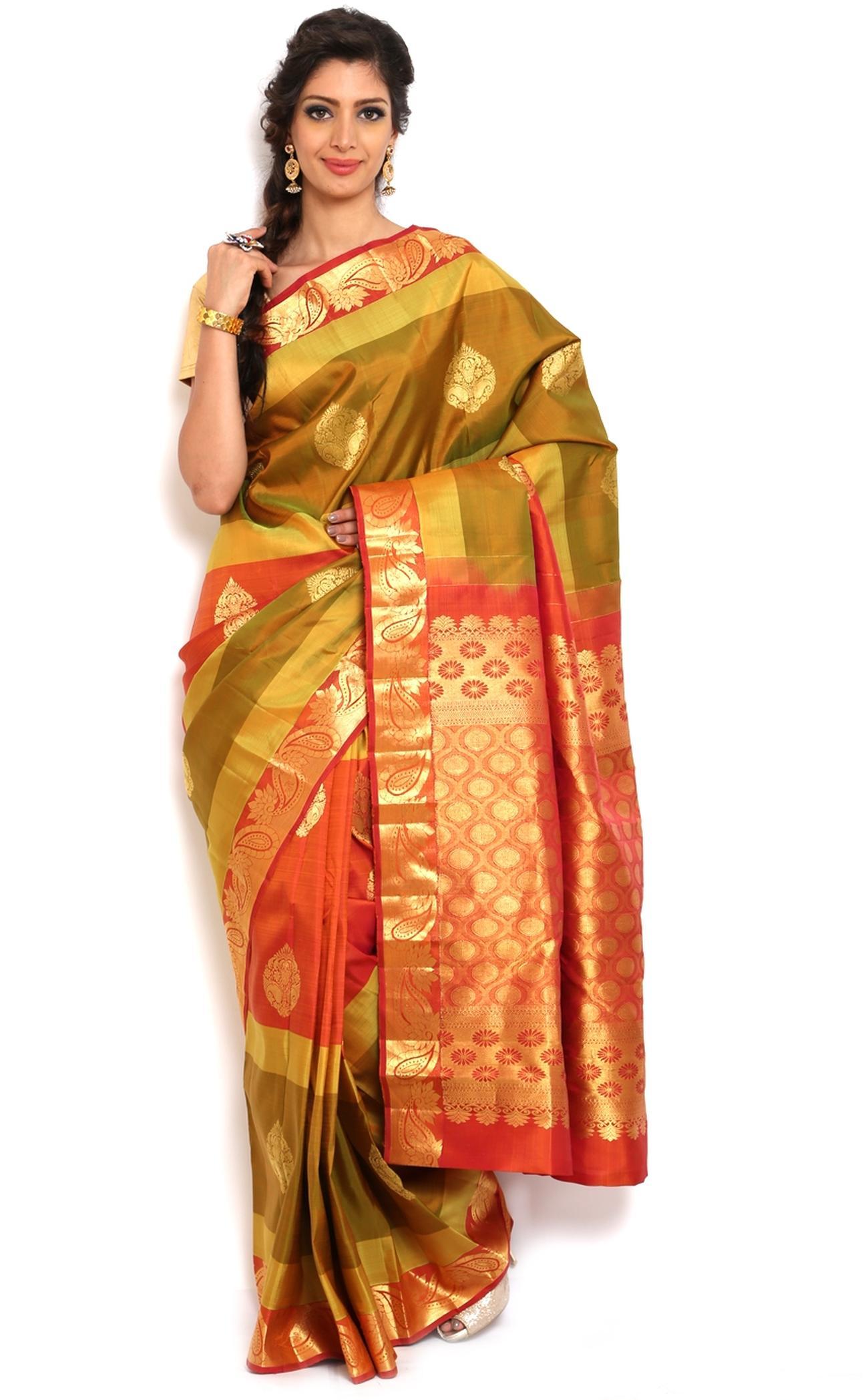 1fefa498e0 Sudarshan silks Kancheepuram Pure Silk Saree-Green-Silk-GBLM8-VP - Sudarshan  Family Store - 214021
