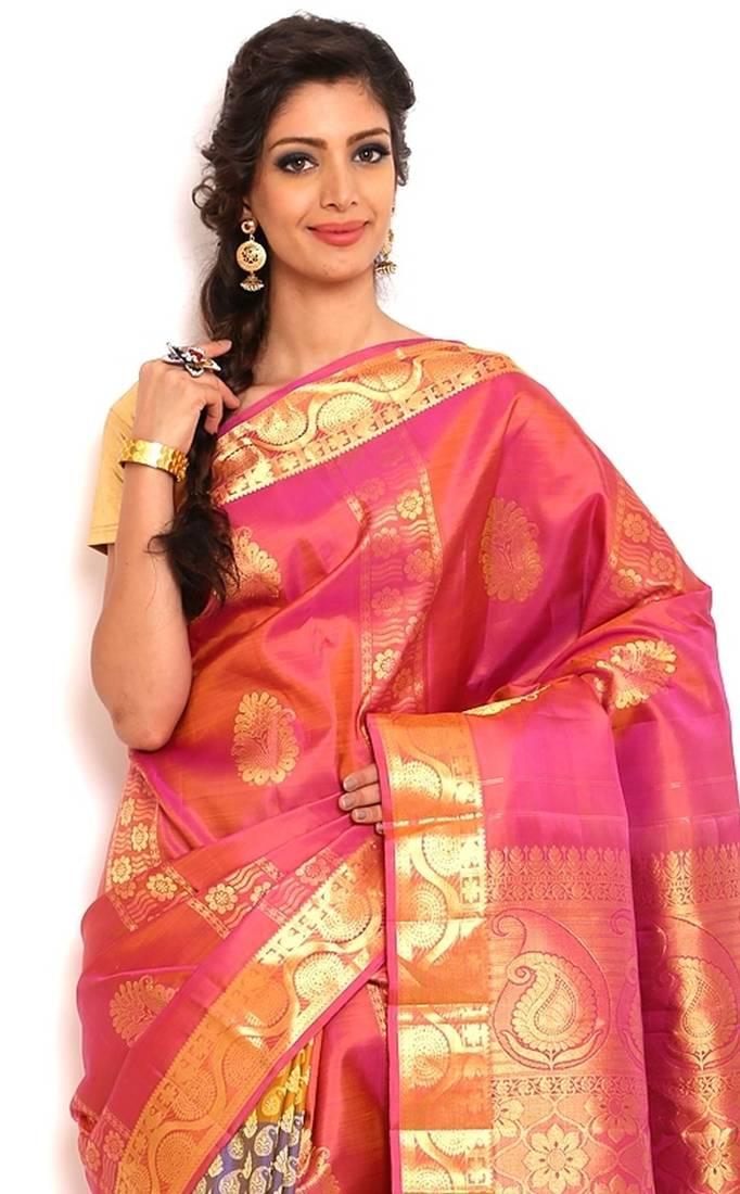 79a566cb44 Sudarshan silks Kancheepuram Pure Silk Saree-Pink-Silk-GBLM10-VP ...