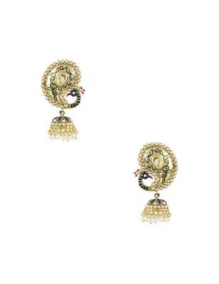 Peacock Navy Blue Traditional Rajwadi Jhumki Earrings Jewellery for Women - Orniza