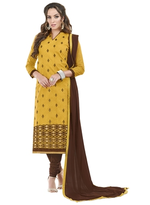 Yellow embroidered chanderi unstitched salwar with dupatta