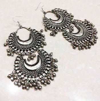 Silver Double Chaand Earrings
