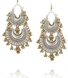 Silver and Gold Two tone Double Chand Earrings