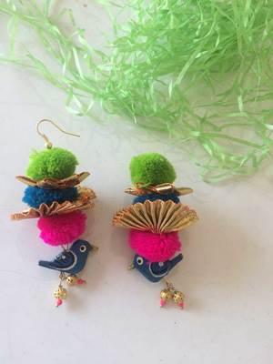 Birdie Gota Pom Pom Earrings