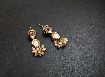 Kundan Pearl embellished earrings