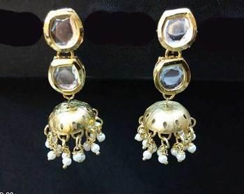 Kundan Small Jhumka Earrings